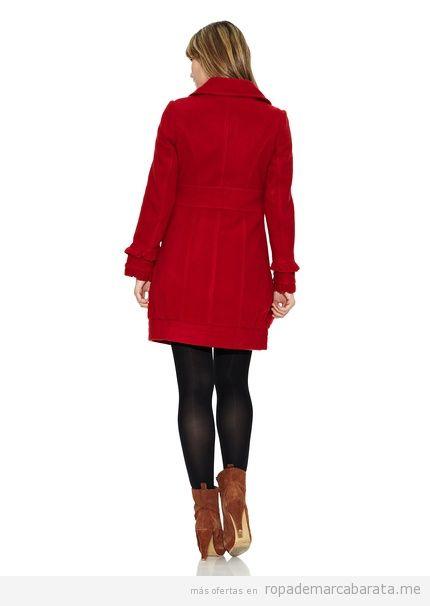 Abrigo rojo cuello bebe, marca Strena, barato