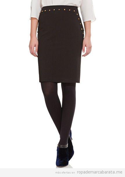 Comprar online falda negra tachuelas marca Cortefiel, barata