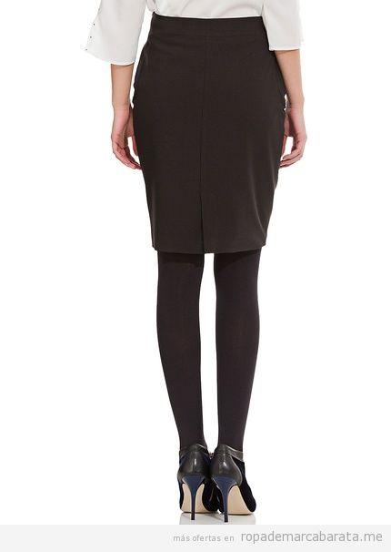 Comprar online falda negra tachuelas marca Cortefiel, barata 2