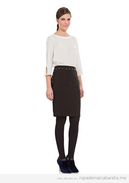 Comprar online falda negra tachuelas marca Cortefiel a21f76a87b9d