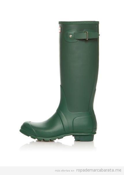 Botas mujer Hunter baratas, color verde, comprar outlet online