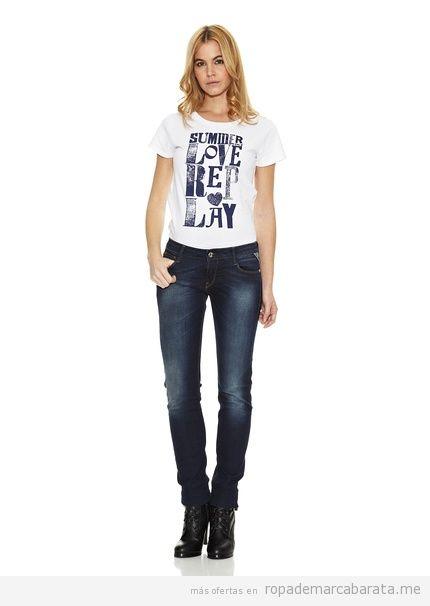Pantalones vaqueros mujer marca Replay, baratos, comprar online 3