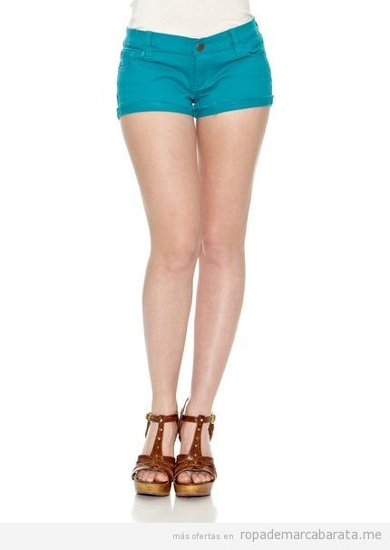 Short  tejano turquesa, marca New Caro barato
