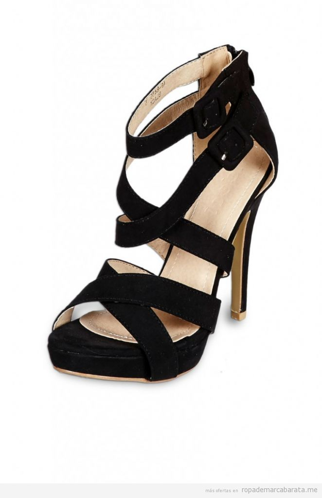 Sandalias tacón negra, marca Ideal, baratass, comprar outlet online