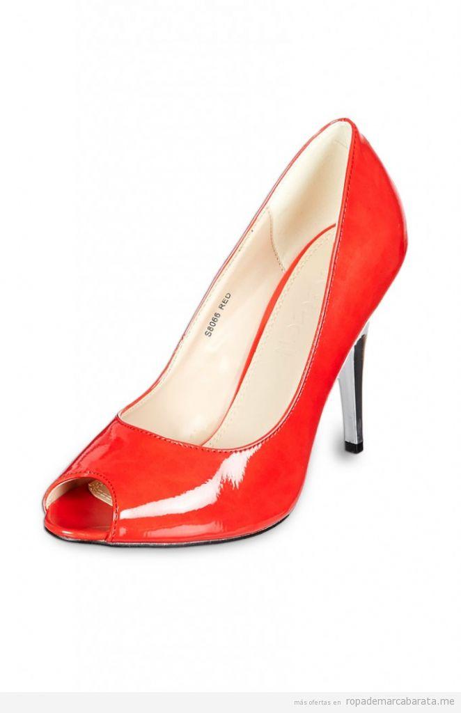 Zapatos tacón charol rojo, primavera verano, marca Ideal, baratas, comprar outlet online