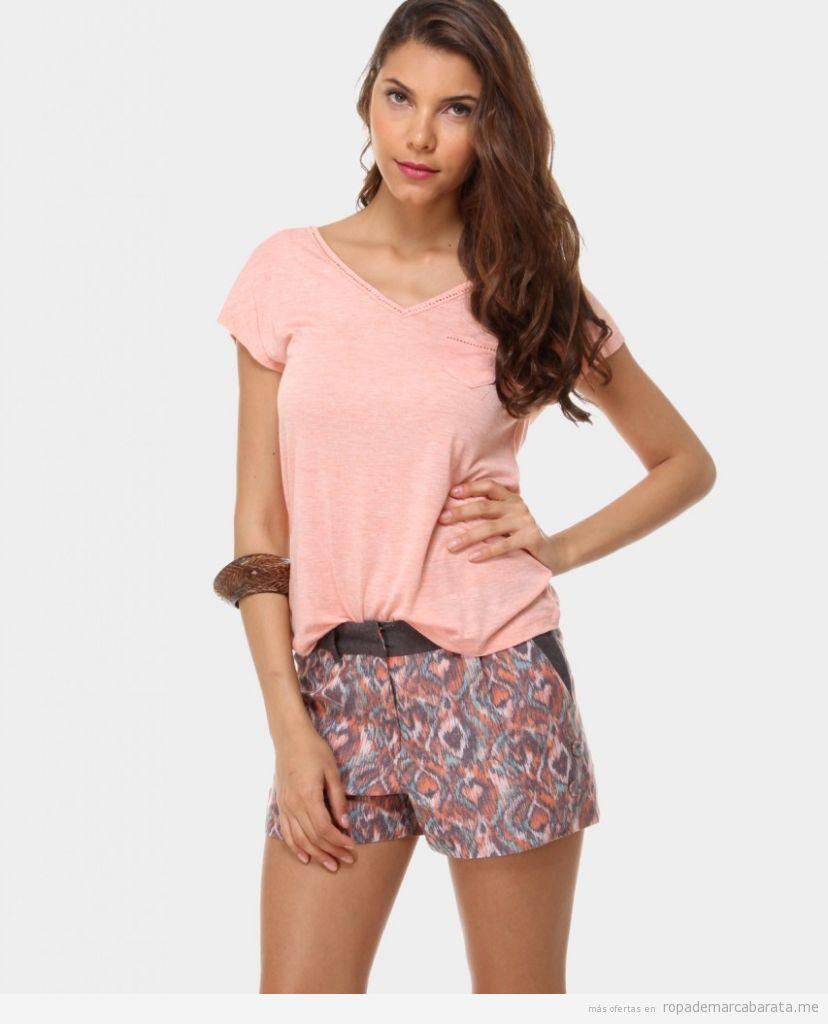 Ropa barata mujer de verano marca Charlise, shorts estampados