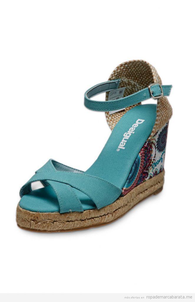Sandalias de cuña marca Desigual baratas, outlet online 2