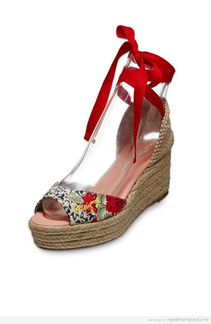 Sandalias de cuña marca Desigual baratas, outlet online 1