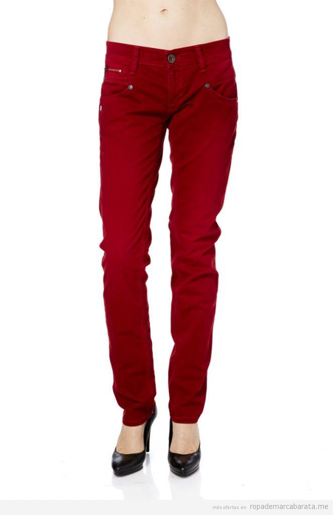 Pantalones otoño color rojo marca Freeman T Porter, outlet online