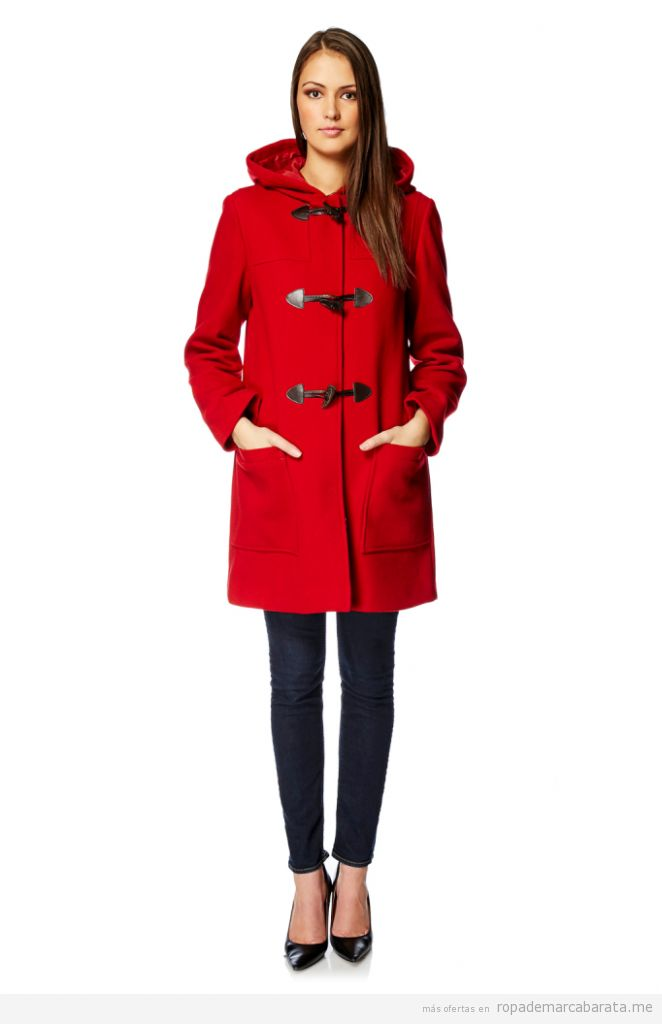 Trenca roja de lana de marca barata, outlet online