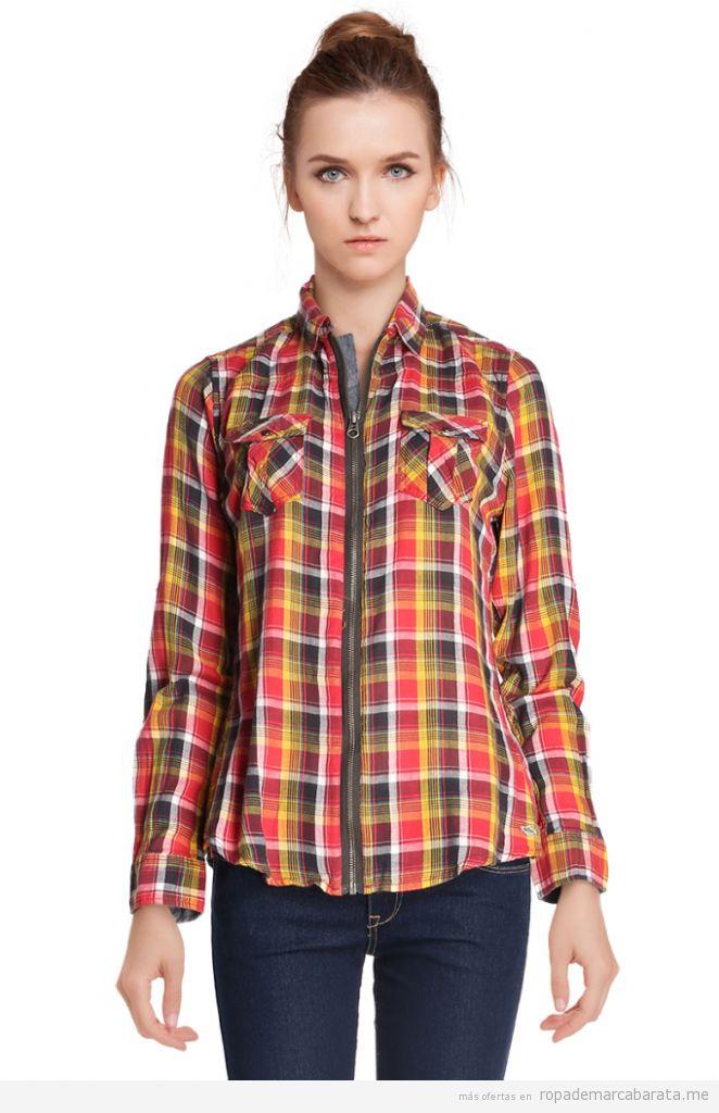 Camisa cuadros chicas marca Lee Copper baratas, outlet online