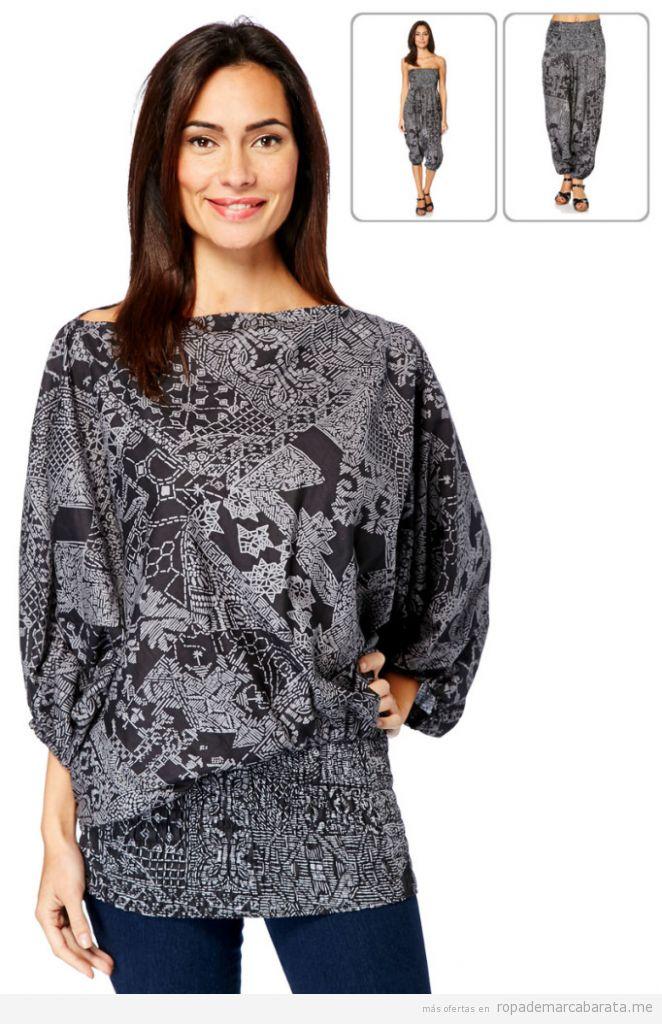 Prenda convertible en blusa, mono y pantalón estampado, outlet online 3