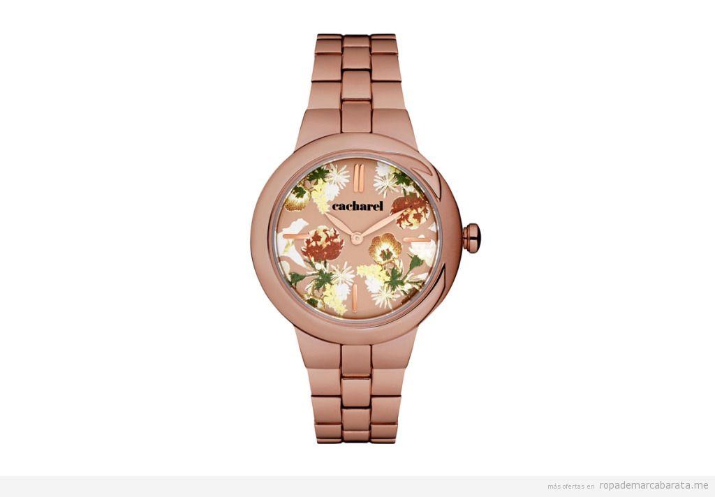 Reloj cuarzo y acero marca Cacharel barato, outlet