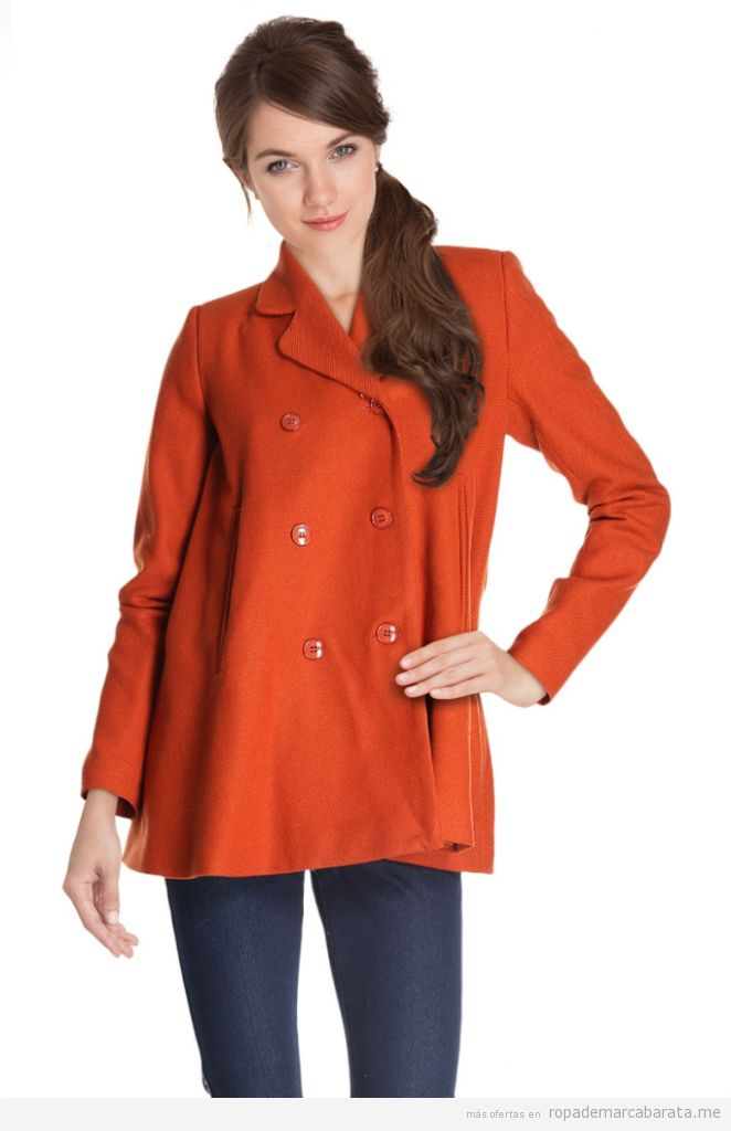 Abrigo color naranja lana marca Camaïeu barato, outlet online