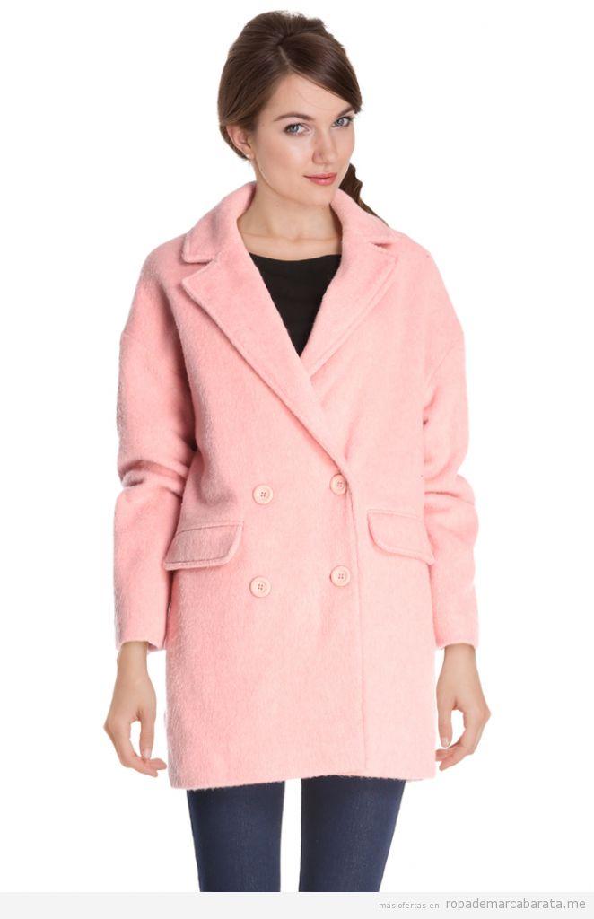 Abrigo color rosa lana marca Camaïeu barato, outlet online