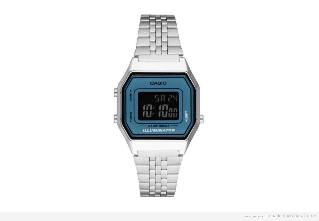 4494e30a00a8 Reloj Digital de Cuarzo de Acero Vintage – Plateado y Azul