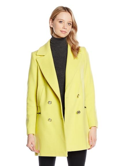Abrigo amarillo de mujer marca Naf Naf barato, outlet