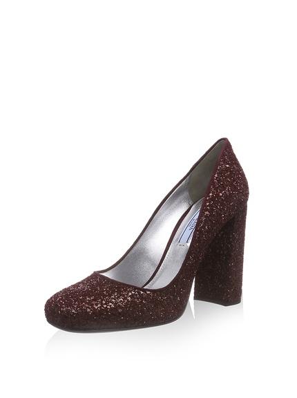Zapatos salones purpurina marca Prada baratos, outlet