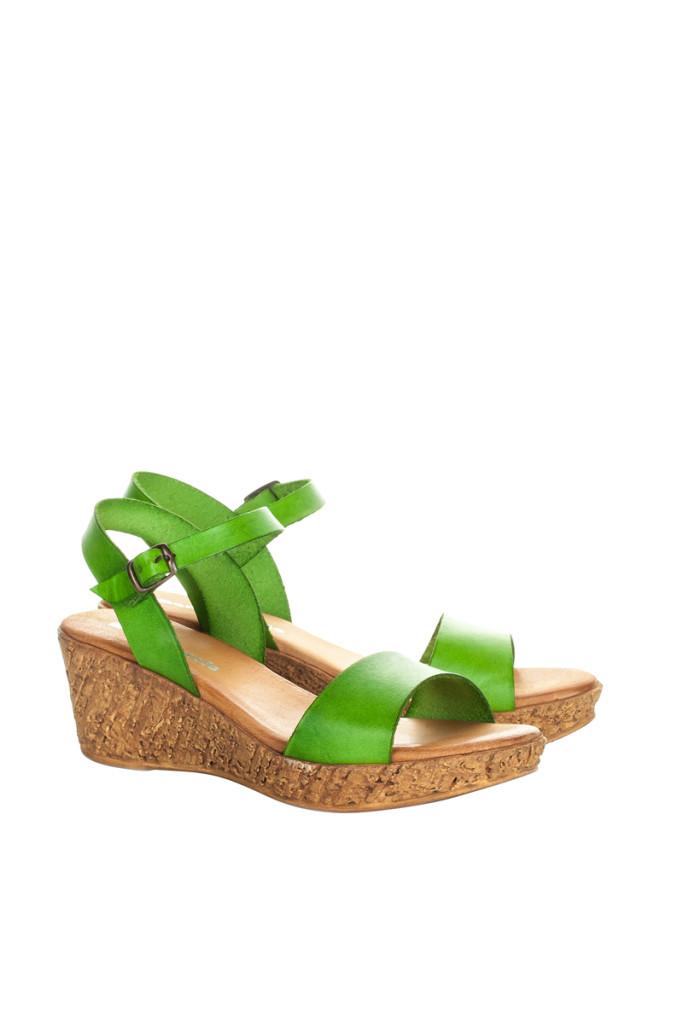 Sandalias cuña piel marca María Barceló baratas, outlet