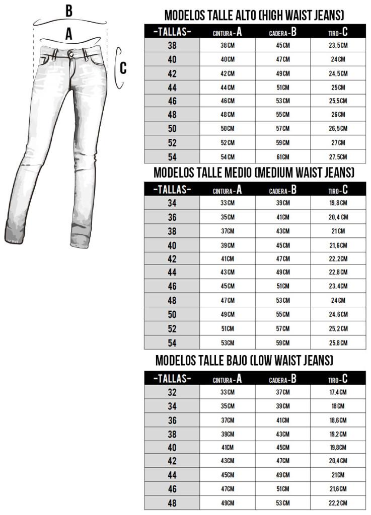 Informacion tallas vaqueros mujer