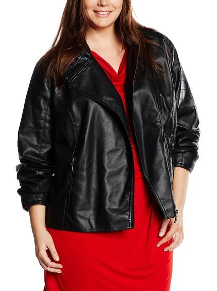 Cazadora negra tallas grandes marca Fiorella Rubino, outlet