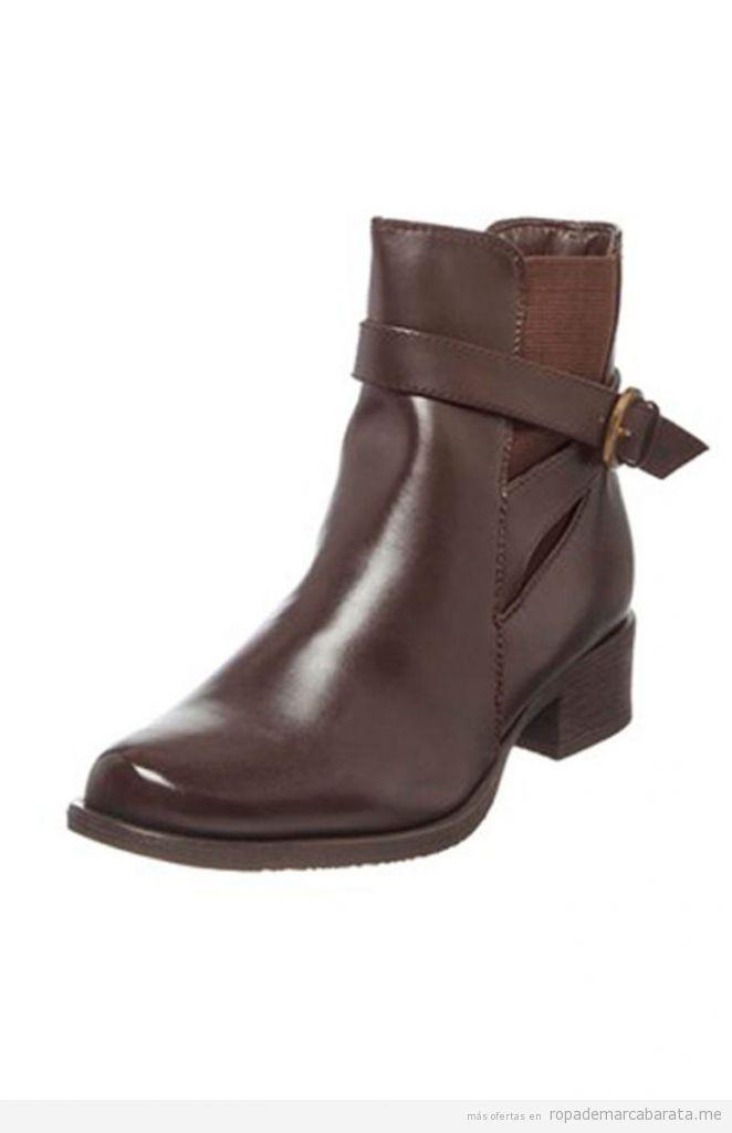 Botines mujer color marrón oscuro baratos
