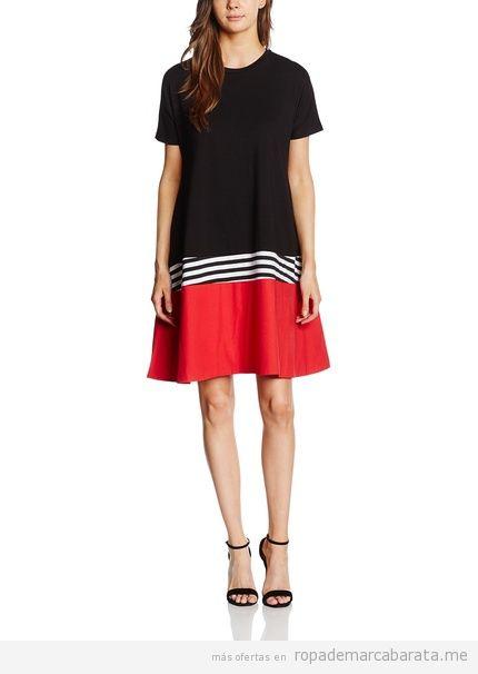 Vestido negro y rojo a rayas marca Maiocci barato, otulet