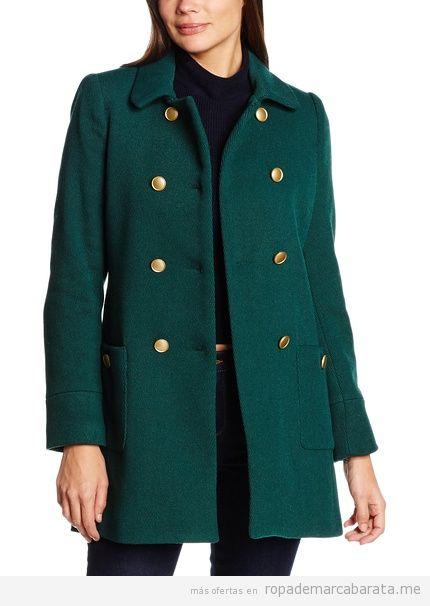 Abrigo verde oscuro mujer marca Cortefiel barato, outlet