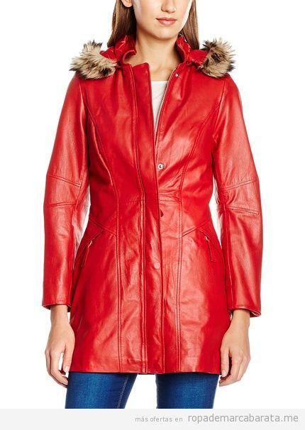 Abrigo de cuero rojo marca Isaco barato, outlet