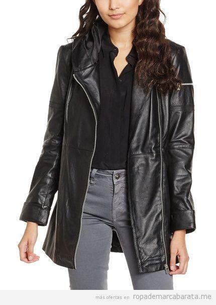 Abrigo de cuero negro marca Isaco barato, outlet