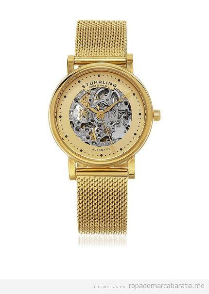 Relojes mujer marca Stührling color dorado barato, outlet