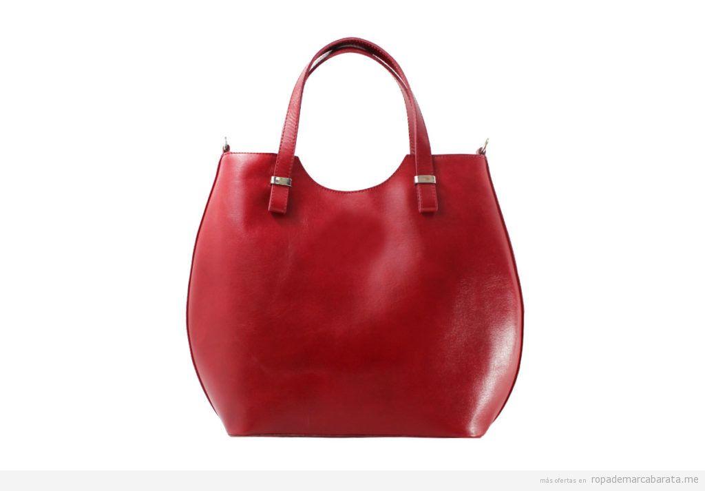 Bolsos piel marca Chiara Ferretti color rojo baratos, outlet