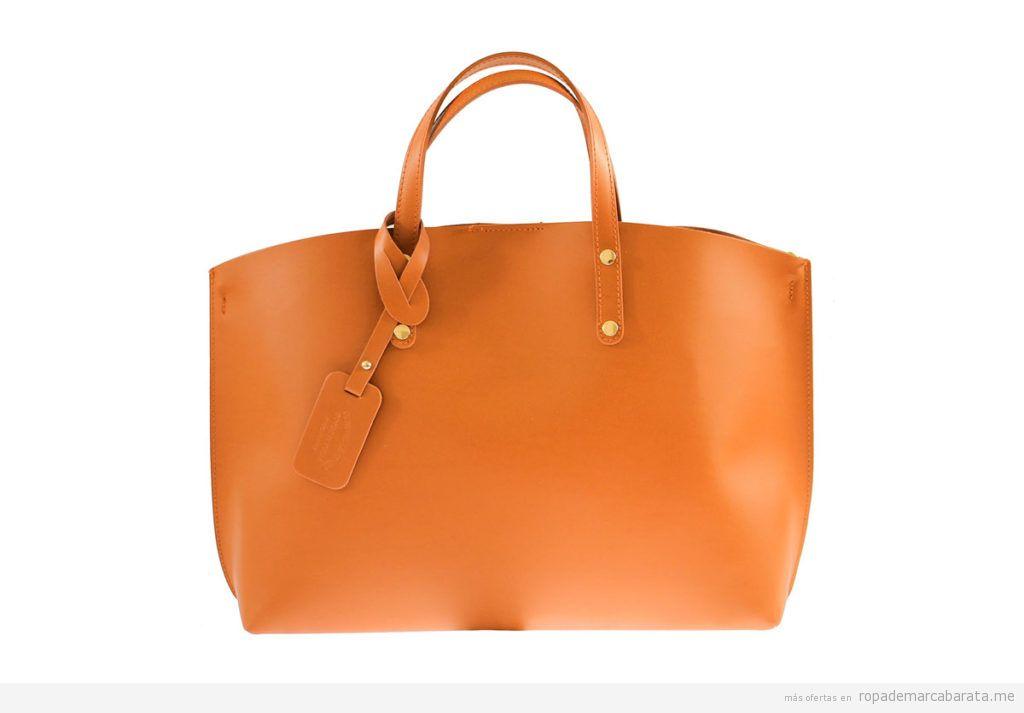 Bolsos piel marca Chiara Ferretti color camel baratos, outlet