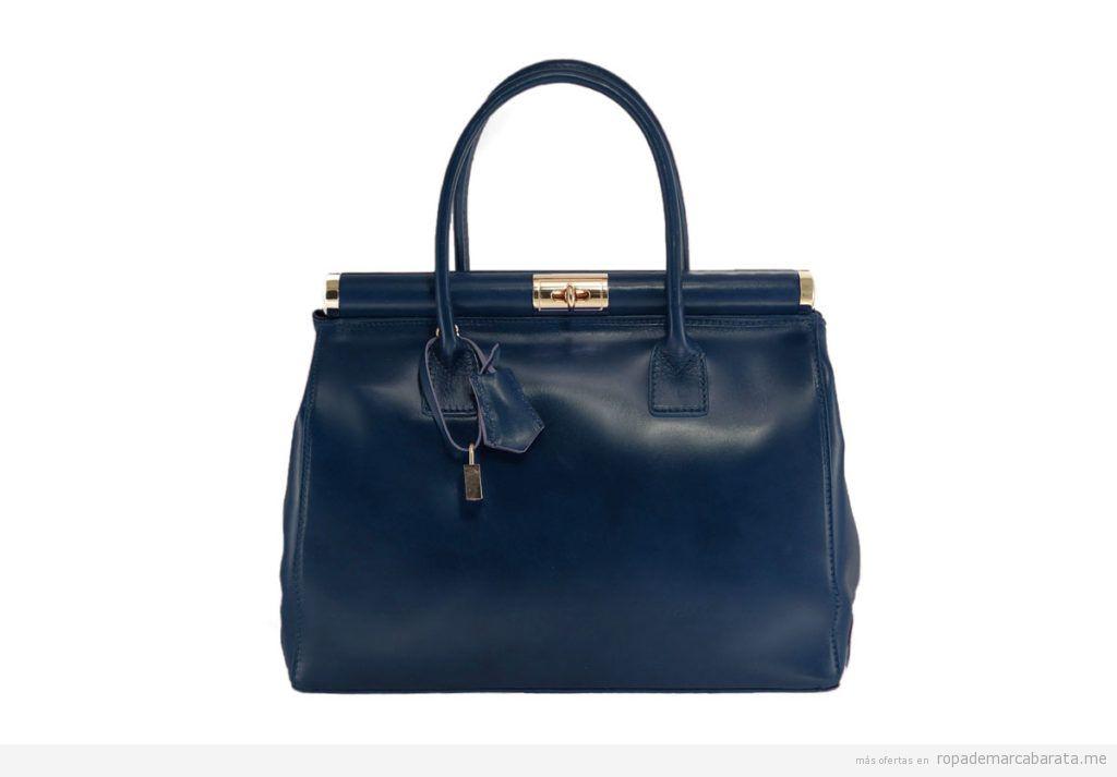 Bolsos piel marca Chiara Ferretti color azul oscuro baratos, outlet