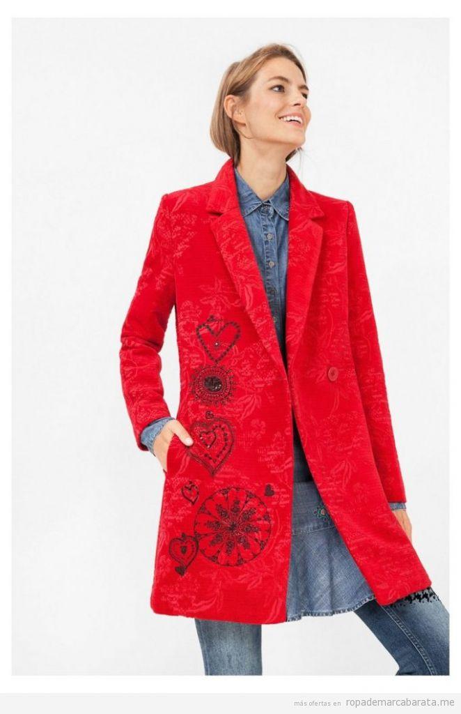 Abrigo mujer color rojo marca Desigual rebajas