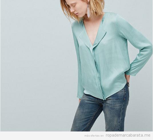 Outlet online ropa marca Mango, camisa color menta