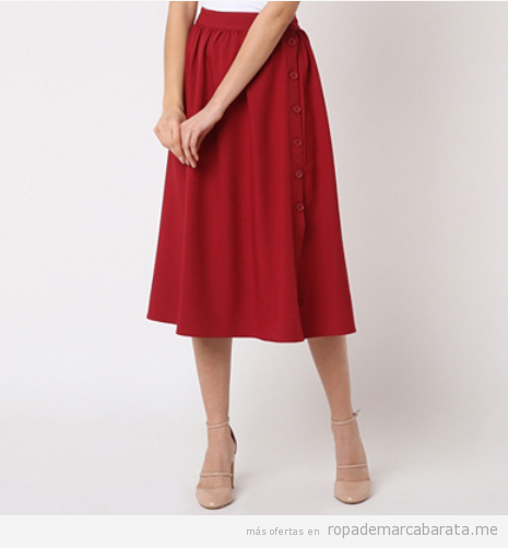 Falda roja evasé manga larga marca Pepa Loves barata, outlet
