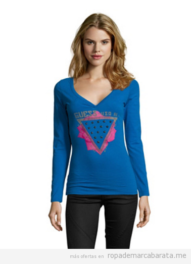 Camiseta mujer marca Guess barata, outlet