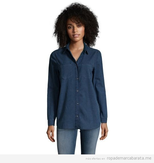 Camisa tejana mujer marca Calvin Klein barato, outlet