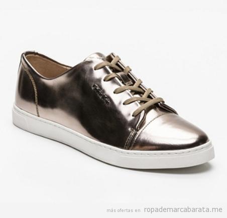 Sneakers dorados marca Kelvin Clain baratos, outlet