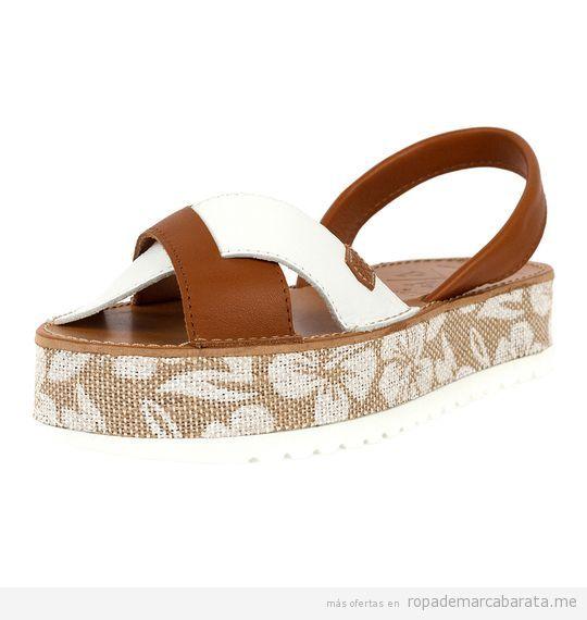 Sandalias menorquinas de plataforma marca Popa baratas, outlet 3