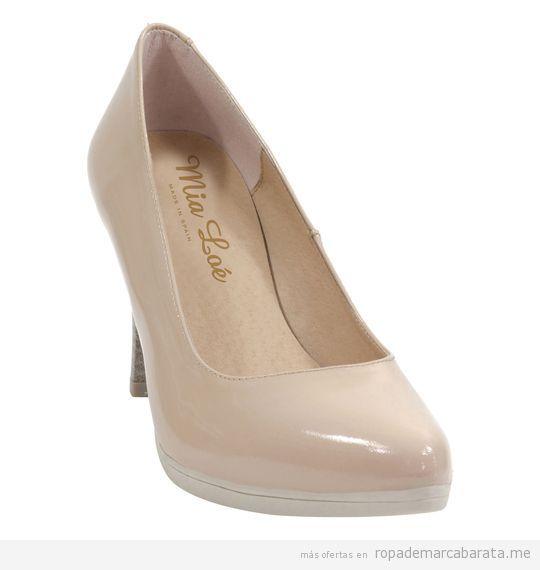 Zapatos beige tacón marca Mia Loé baratos, outlet