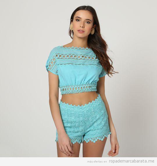 Top y shorts turquesa con puntilla marca Charo Ruiz baratos, outlet online