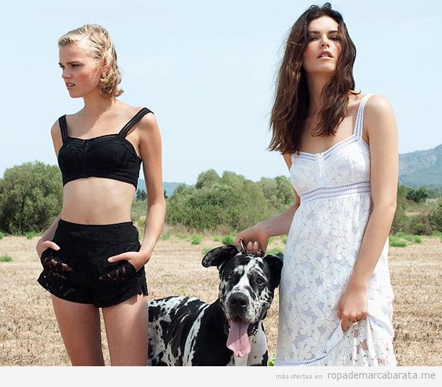 Tops, shorts y vestidos de encaje, moda verano 2017 marca Charo Ruíz de rebajas