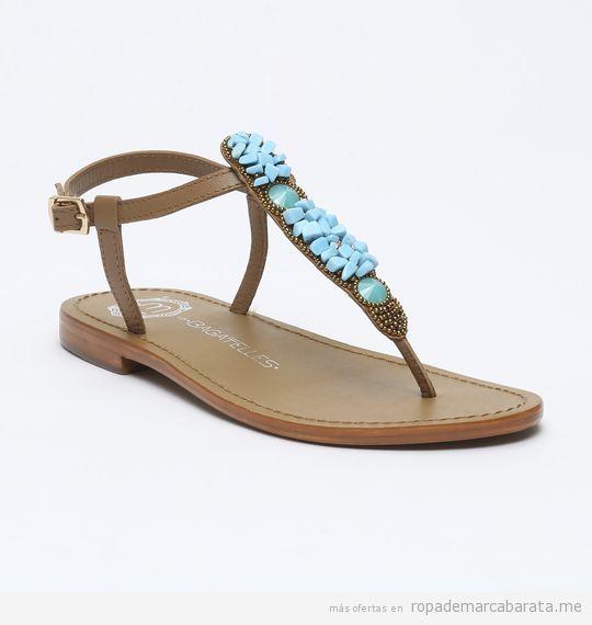 Sandalias de piel cuentas azules marca Les Bagatelles baratas, outlet