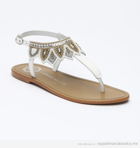 Sandalias de piel color blanco marca Les Bagatelles baratas, outlet