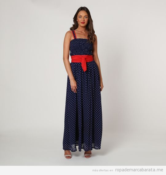 Vestido largo lunares marca Almatrichi barato, outlet