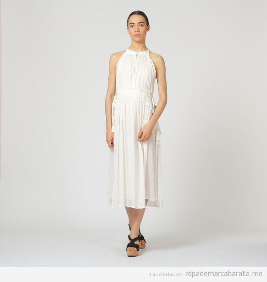 Vestido blanco marca Bimba y Lola barato, outlet
