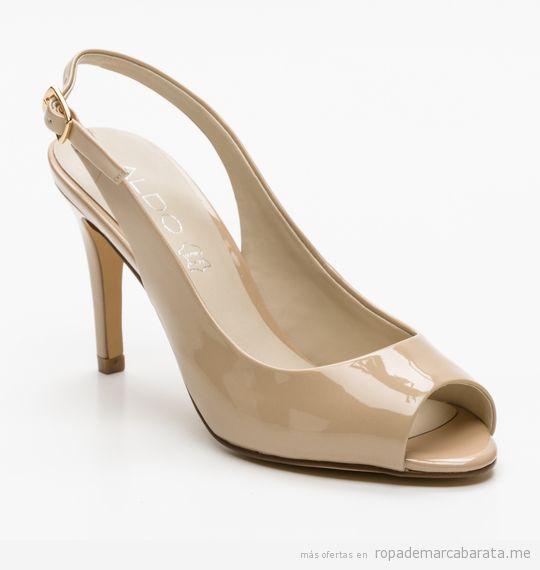 Zapatos peep toes beige de tacón marca Aldo baratas, outlet