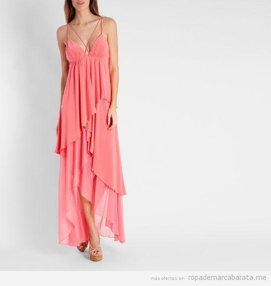 Vestido largo coral marca BDBA barato, outlet